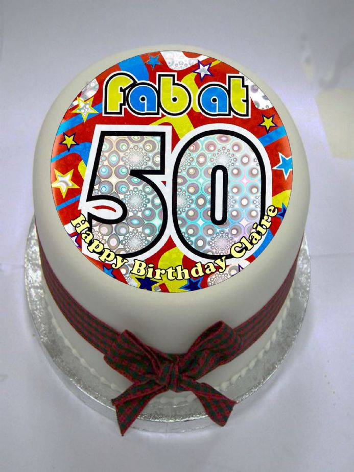 Fab at 50 Edible Cake Topper